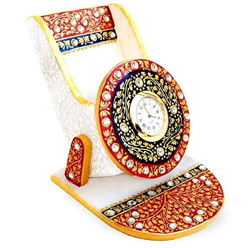 Balaji Arts Handmade Marble Showpiece Meenakari Design Mobile Stand with Clock for Home and Office
