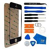 MMOBIEL Front Glas Reparatur Set für iPhone 5 5C 5S SE Series (Schwarz) Display mit 11 TLG. Werkzeug-Set