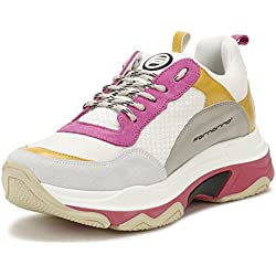 Fornarina Womens Fuxia Pink Super 4 Chunky Trainers-UK 5