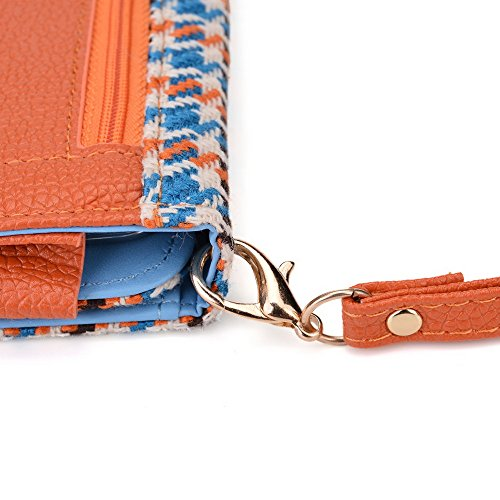 Kroo Housse de transport Dragonne Étui portefeuille pour Asus Padfone 2/Padfone Mini Blue Houndstooth and Orange Blue Houndstooth and Orange