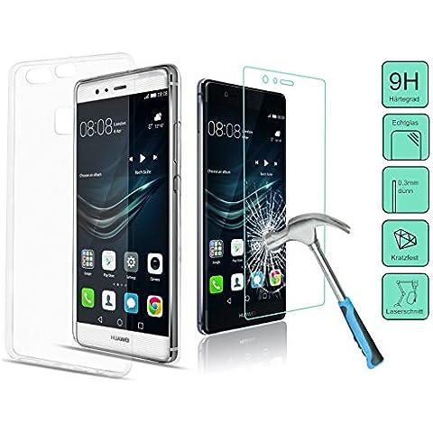 2in1de Juego para el Huawei P9Lite, vidrio de tanque + TPU Carcasa–-- Set con dureza 9H Protector de pantalla Vidrio Templado sólo 0,3mm de grosor y una funda TPU Silicona (transparente)–-- Incluye PATONA