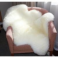 Laine Tapis 60 x 90 cm Faux Peau de Mouton Imitation Toison Moquette Peau d'agneau Tapis Fluffy Soft Longhair Décoratif Coussin de Chaise Canapé Natte (Blanc)