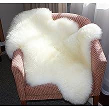 Falso Piel de carnero Vellón Alfombra 60 x 90 cm Shaggy Elegante De Pelo Largo Mullida Excelente piel Sintética de calidad Alfombra de Lana (Blanco)
