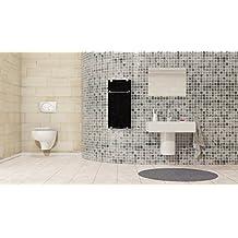 Infrarotheizung Badheizung IBP 750 Inklusive Handtuchhalter & Thermostat mit Fernbedienung Motiv Quadrate Badheizkörper