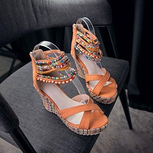 COOLCEPT Damen Mode Knochelriemchen Sandalen Open Toe Keilabsatz Schuhe Mit Zipper Orange