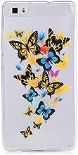Huawei p8 lite Funda,KSHOP Funda Case Cover TPU Silicona Gel Goma flexible Suave Carcasa Caso Transparente delgado Con impresión Patrón Anti-golpe Resistente a los Aranazos - mariposa