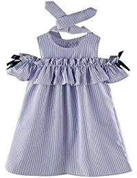Vestidos Niña, K-youth® Verano Vestidos para niña y Diademas, Barata Vestidos a rayas Ropa Niñas Vestido Infantil Fiesta Niñas 2018 Ofertas para 2-7 años