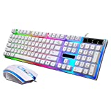 Wokee Wireless Tastatur und Maus Set,2.4GHz QWERTZ Deutsches Kabellose Tastatur Layout für Laptop PC Tablet und Smart TV,Regenbogen Farbe Hintergrundbeleuchtung (Weiß)