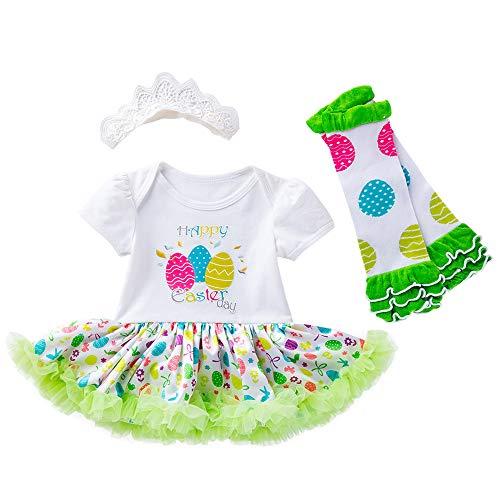 leider, Kleinkind Neugeborene Prinzessin Osterei Kurzarm Strampler Prinzessin Kleid + Haargurt + Bein Set DREI Stück Set (3-18M) Ostern (Weiß,XL) ()
