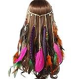 AWAYTR Jahrgang Feder Stirnband Indisch Kopfschmuck Boho Hippie Perlen Maskerade Schick Kleid Haar Zubehör Zum Frau Mädchen (Lila lange Feder + Pfauenfeder + Schale)