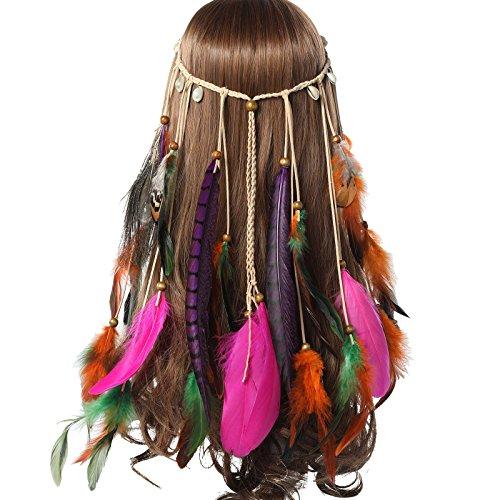 AWAYTR Jahrgang Feder Stirnband Indisch Kopfschmuck Boho Hippie Perlen Maskerade Schick Kleid Haar Zubehör Zum Frau Mädchen (Lila lange Feder + Pfauenfeder + Schale) (Kostüm Hippie Kinder)