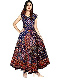 G for Girl Womens' Multicolor Jaipuri Rajasthani Printed Cotton Maxi Frock Long Kurti