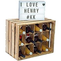 Kistenkolli Altes Land Étagère à Bouteilles pour Bouteille de vin avec Inscription en Allemand Henry//Nature/flammé Dimensions env. 50 x 40 x 30 cm