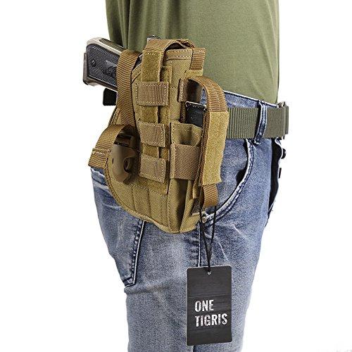 OneTigris-L' Custodia a pistola fondina Molle tattico di Glock 1911459296con la tasca di rivista per Softair Caccia, Marrone chiaro, 13*20cm - Tattico Pistola