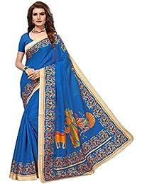 JENCY FASHION Kalamkari Silk Saree With Blouse (BLUE)