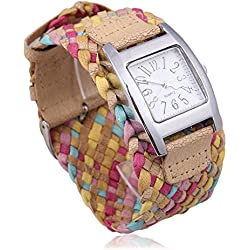 Fashion Candy Color Braided Plaited Rope Strap Wrap Quartz Lady Kahki Wrist Watch