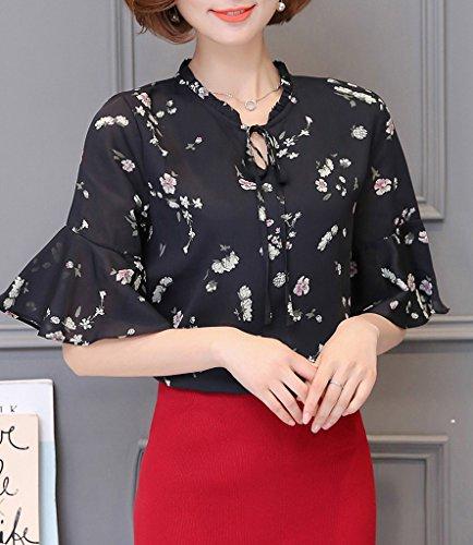 Smile YKK Chemise Femme Chic Mousseline de Soie T-shirt Chemisier Blouse Top Manches 3/4 Eté Noir