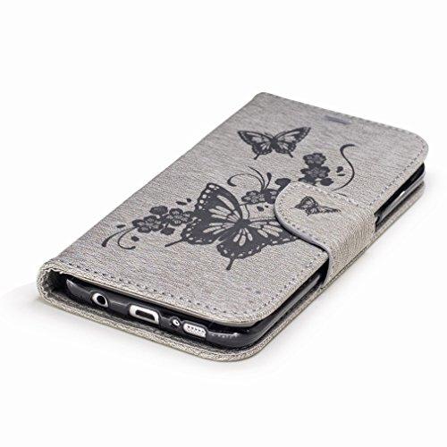 Yiizy Samsung Galaxy S7 Edge / G935 / G935F Custodia Cover, Fiore Di Farfalla Design Sottile Flip Portafoglio PU Pelle Cuoio Copertura Shell Case Slot Schede Cavalletto Stile Libro Bumper Protettivo B Grigio