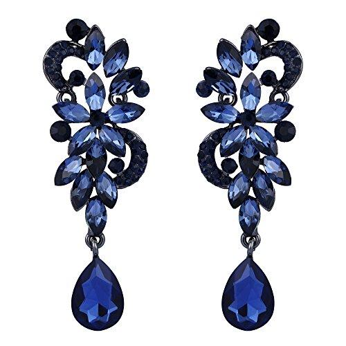 Clearine orecchini donna boemia cristallo fiore matrimonio da sposa lampadario lacrima bling ciondolare orecchini blu nero