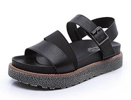 GLTER Damen Komfort Open Toe Sandalen 2017 Leder Slingback Sandalen weiblichen elastischen Band Wölbung Studenten flachen unteren Schuhe Black