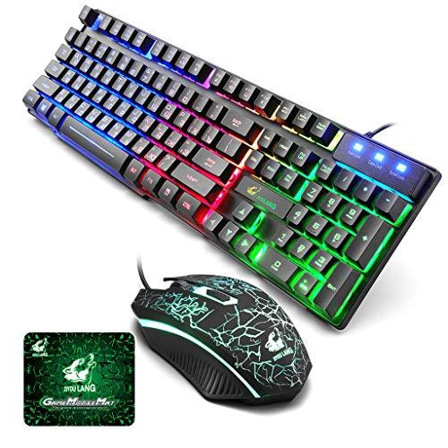 Dkings Regenbogen Hintergrundbeleuchtung USB Ergonomic Gaming Englisch Russisch Tastatur und Maus Set für PC Laptop, Von hinten beleuchtete, ergonomische, programmierbare schwarze Membrantastatur (Computer-beleuchtete Tastatur)