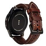 Vanctec für Samsung Gear S3 Armband, Leder Uhrenarmband 22mm Ersatz Band mit Schwarzer Schließe für Samsung Gear S3 Frontier / Classic Smartwatch, Kaffee