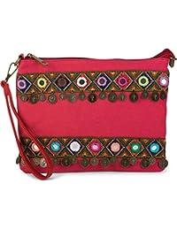 737a147c0 styleBREAKER bolso de mano clutch en óptica de tela de yute en un moderno  estilo étnico decorado con bordados,…