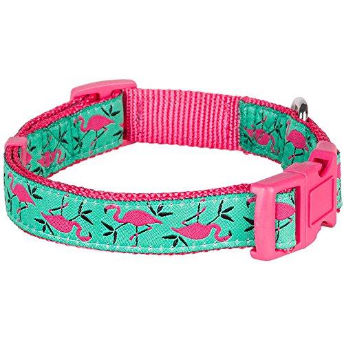 Blueberry Pet Hundehalsband Pink Flamingo auf Hell-Smaragtgrün 1,5 cm S Basic Polyester Nylon Hundehalsband - 3