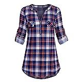 Damen Langarmshirt, Mode Plaid Druck Bluse Sweatshirt Frauen Elegant V-Ausschnitt Tunika Rolled Ärmel Shirt mit Reißverschluss von ABsoar