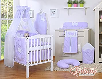 BABY NURSERY LILAC / PURPLE u0026 WHITE LITTLE POLKA DOT 11pcs BEDDING SET COT / BED + CANOPY HOLDER (COT) Amazon.co.uk Baby & BABY NURSERY LILAC / PURPLE u0026 WHITE LITTLE POLKA DOT 11pcs BEDDING ...
