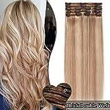 Extension a Clip Cheveux Naturel Maxi Volume 8 Pcs Rajout Vrai Cheveux Humain Naturel Epais - Double Weft 100% Human Hair Extensions (#18+613 SABLE BLOND MECHE BLOND CLAIR, 12 pouces, 30cm)