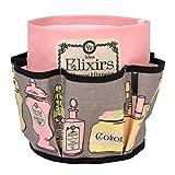 Derrière La Porte Mes Elixirs Bonne Humeur organizzatore con più tasche per trucco–rosa/grigio con rivestimento in cotone