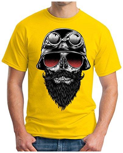 OM3 - SKULL-RIDER - T-Shirt MOTORCYCLE CUSTOM BIKE CHOPPER CHAIN EMO PUNK ROCK, S - 5XL Gelb