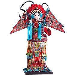 AMYBDS Mu Guiying Estatua Chino Característica Arte Regalo Beijing Ópera Facial Maquillaje Muñeca Regalo Caja,B