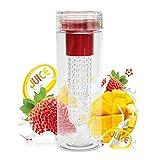 HMILYDYK Wasserflasche mit Fruchteinsatz für Sport/Outdoor-Aktivitäten, BPA-frei, mehrere Farben erhältlich P-RED
