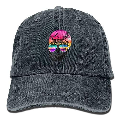 Sunset Cat Space Glasses Cowboy Baseball Caps for Unisex Trucker Style Hat