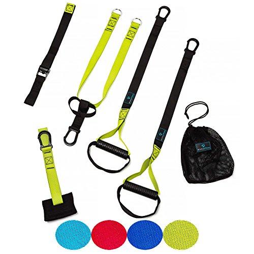 Schlingentrainer »Prometheus« / Sling-Training / Suspension Training / Gummierte Griffe inkl. Türanker, Karabinerbefestigung und Transportbeutel / grün