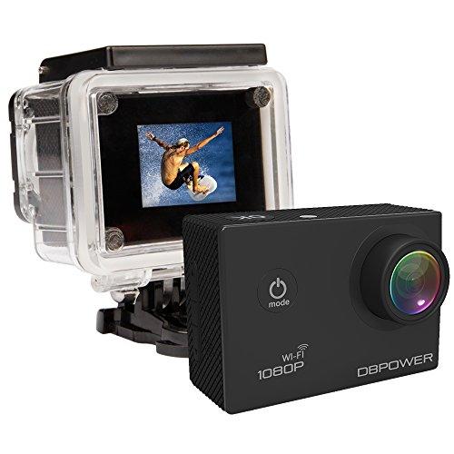 DBPower HD-Sport-Kamera, 12 MP, 1080p, wasserdicht,  mit 2 wiederaufladbaren Batterien (mit langer Lebensdauer) und kostenlosem Zubehör WiFi Negro