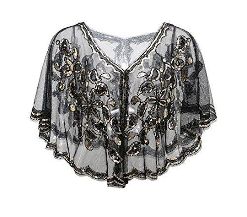 Metme Vintage 1920er Jahre Gatsby Thema Flapper Cover Ups Perlen Pailletten Cape Abend Wraps für Frauen
