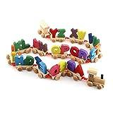Zerodis Cartas de tren de madera de colores de los niños Cadenas de tren Conjunto Montar alfabético de juguete educativo para el regalo de los niños de cumpleaños del niño del bebé