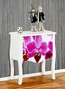 Commode Marne armoire table d'appoint chevet, 70x60x36cm, motif orchidée
