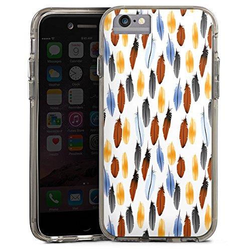 Apple iPhone 7 Bumper Hülle Bumper Case Glitzer Hülle Federn Colourful Bunt Bumper Case transparent grau