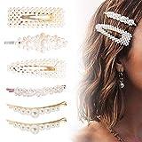 6 Stücke Perlen Haarspangen für Frauen Mädchen, FOXTSPORT Mode Haar Snap Clips Faux Perle Haarnadeln Barrettes Stick Snap Haarspangen Für Geschenke