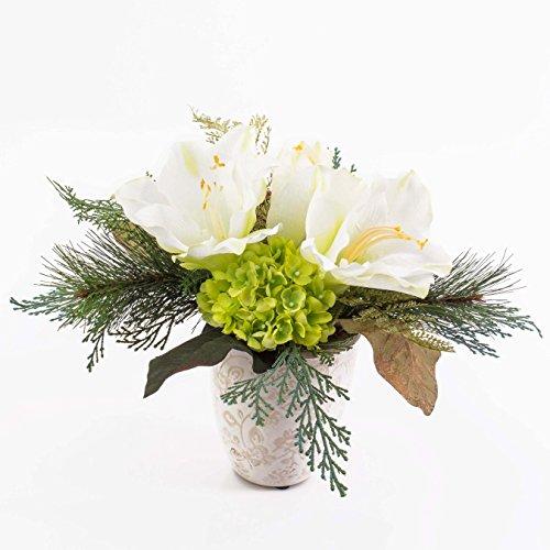 artplants Amaryllis-Hortensien-Arrangement im Keramiktopf, weiß, 30 cm – Kunstblume/Dekoblume