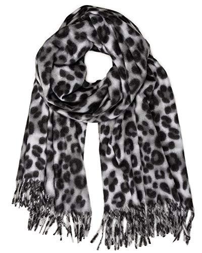 Caspar SC501 weicher warmer Damen XL Schal mit Leo Animal Print, Farbe:grau, Größe:Einheitsgröße