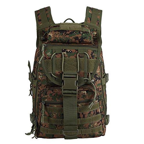 Lalawow Militärrucksack taktischer Rucksack Tactical Assault 40L Wasserdicht Backpack MOLLE MultiCam Camo mit 2 Tactical Patch-Unterstützung 14 Zoll Laptop Dschungel Tarnung