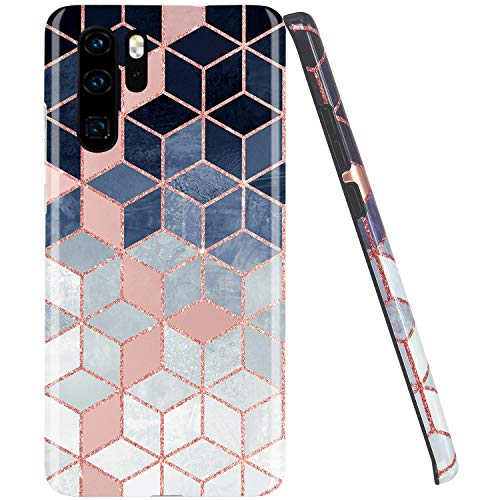 JAHOLAN Huawei P30 pro Hülle Handyhülle TPU Silikon Weiche Schlank Schutzhülle Handytasche Flexibel Case Handy Hülle für Huawei P30 pro - Shiny Rose Gold Gradient Cubes