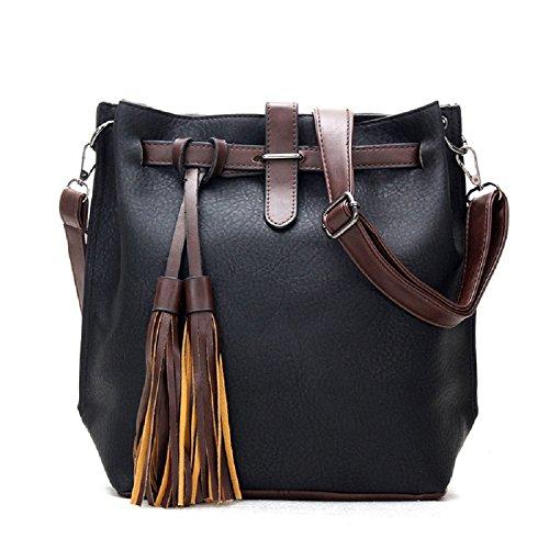 Lavanda il nuovo modo di retro nappa elegante tracolla messenger, Brown Black