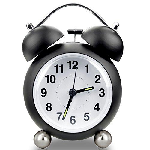iKALULA Wecker Analog, 4 Zoll Retro Doppelglockenwecker mit Nachtlicht Geräuschlos Kein Ticken Glockenwecker Analog Quarzlaufwerk mit Lautem Alarm Großes Zifferblatt - Schwarz