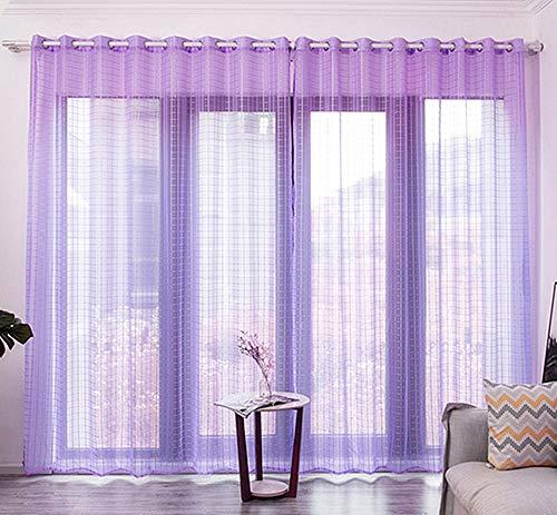 Glitzfas, set di 2 tende con occhielli, traslucide, per soggiorno, camera dei bambini, camera da letto, tenda decorativa, lilla, 2 x 2,7 m